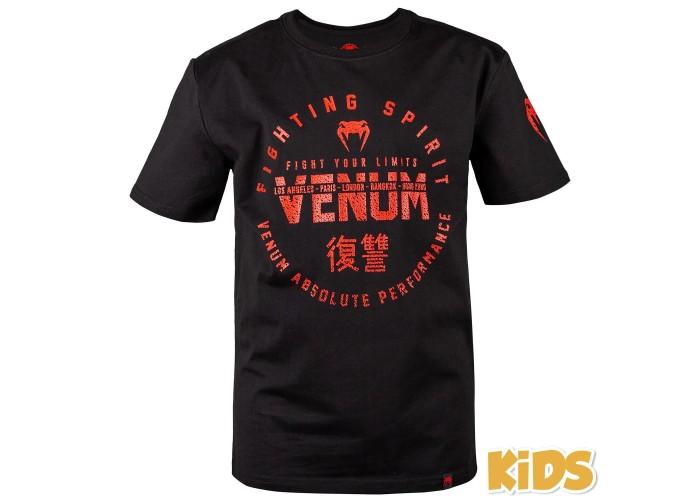 Детская футболка Venum Signature T-Shirt Black Red