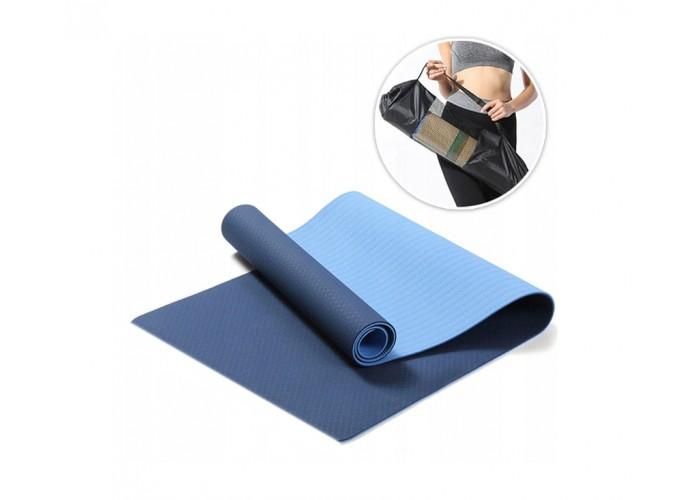 Коврик для фитнеса (йога-мат) с чехлом Newt TPE Eco 6 мм, сине-голубой