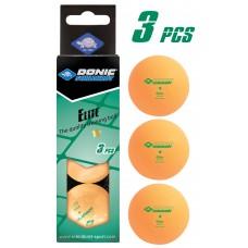 Мячики для настольного тенниса Donic-Schildkrot ELITE 1* 40+, 3шт, оранжевые