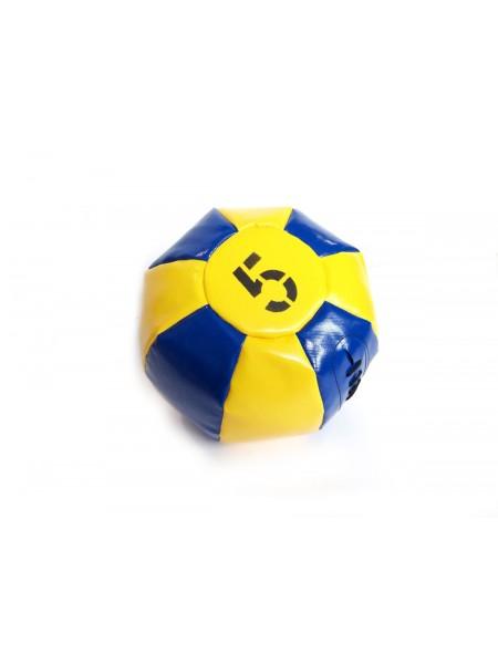 Медицинский мяч 5 кг, желто-синий