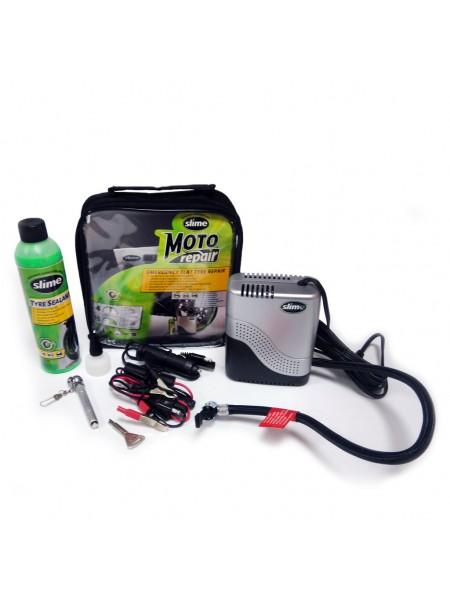 Ремкомплект для мотопокрышек MOTO Power Sport (Герметик + воздушный компрессор), Slime