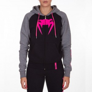 Женская толстовка Venum Infinity Hoody With Zip Black Grey