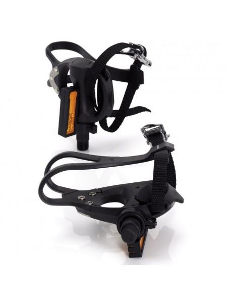 Педали контактные Road PD-R01Plastic (с ремешками и тулипсами), под шип Shimano, черный